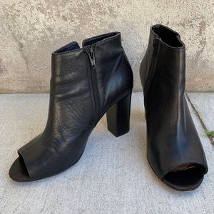 Aldo High Heel Open Toe Leather Ankle Boot